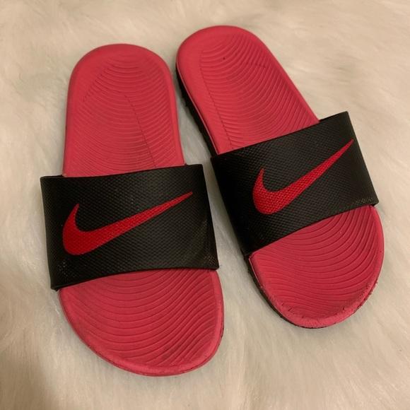 Nike Other - Nike Slides girls size 2 pink black